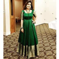 Auspicious Green Butti Stitched Gown